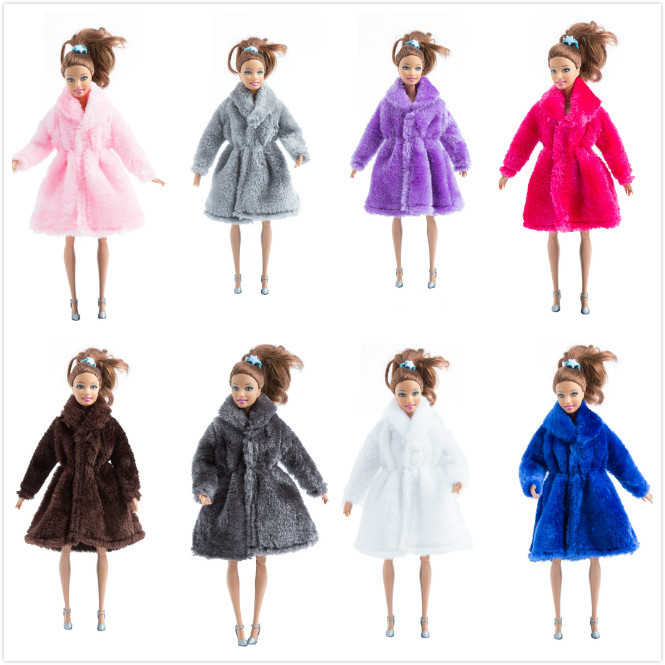 Doll Accessories Winter Wear Warm Fur Coat Dress Clothes For Barbie Dolls Fur Doll Clothing For Doll Kids Toy