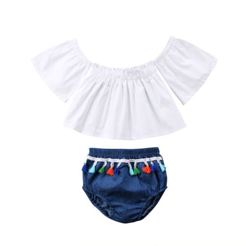 2Pcs Set Summer New Toddler Newborn Baby Girls Off Shoulder White Tops+ Shorts Outfits Baby Girls Clothes Set