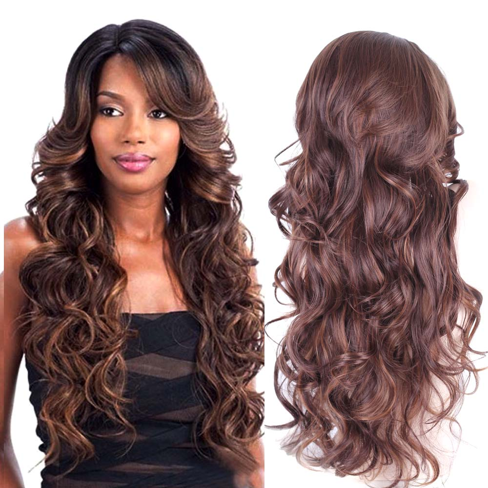 30In Long Brown Red Ombre Wigs For Black Women Heat Resistant Synthetic Wigs  Big Wavy Curly Cheap Female Wig Pelucas Pelo Natura 404831d1a7