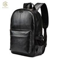 AHRI NOWY Całkiem Style PU Leather Mężczyźni Czarny 15 cali plecak Mody Męskiej Na Co Dzień Chłopcy Szkoła torby Na Ramię dla mężczyzn plecak