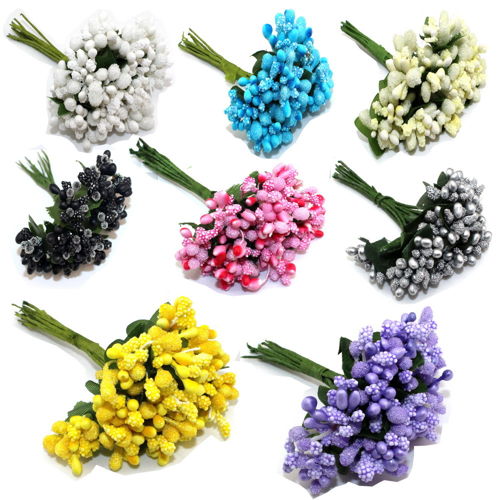 12PCS lot Colourful Artificial Mini Floral Foam Bridal Bouquet Flowers Stamens With Leaves for Wedding Wreath DIY Decor 8Z