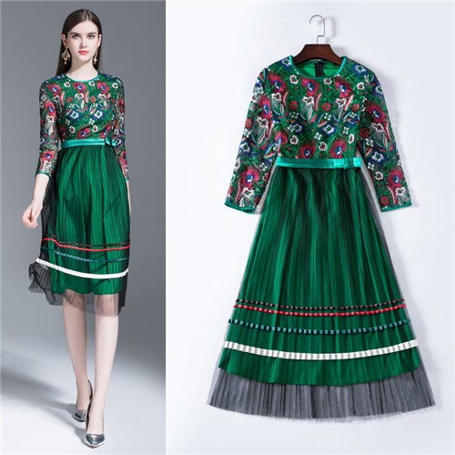 4c90278653f high quality runway dresses for women spring summer mesh embroidered midi dress  green color pleated mesh 3/4 sleeve female frock