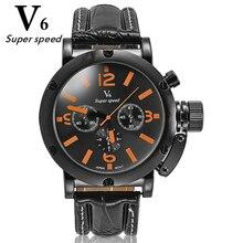 V6 esportes relógio dos homens de alta qualidade relógio de quartzo grande mostrador preto marca nova tendência da moda relógios bela seleção multicolor