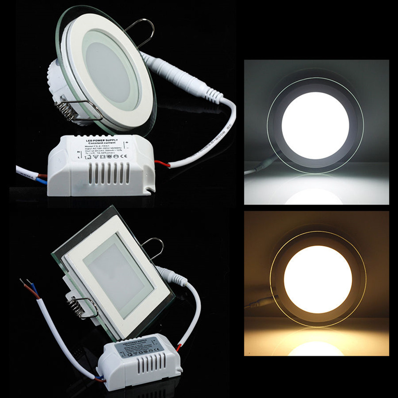 24W Round/Square Glass LED Ceiling Light Recessed Dimmable LED Ceiling Lamp Spot Ceiling Down Light 85-265V + LED Driver