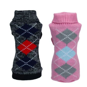 Ropa para mascotas jersey para cachorros Jacquard de punto a cuadros para mascotas Jersey abrigo ropa negro rosa