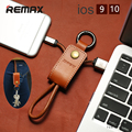 Remax Genuine Leather mobile phone cable 3.0A USB Charger Data Cable for iPhone 5S 6s 7 plus iPad with Lanyard Metal Keychain