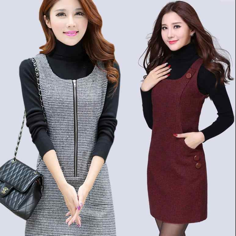 2019 S-5xl Autumn Winter Woolen Women's Dress Plus Size Vest Dresses Slim Basic Office Dress Female Vestidos Vest Strsight F507