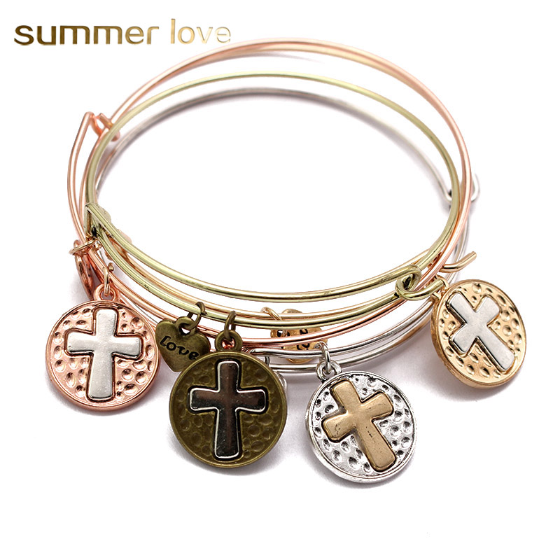 Latin Cross Pendant Love Heart Bracelet Adjustable Expandable Wire ...