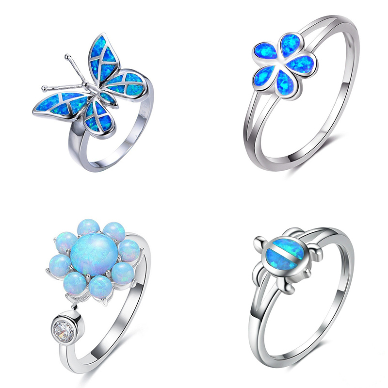 Marcats Fashion Blue Crystal Fire Opal Sea Butterfly Turtle Finger Rings For Women Female Filled Ocean Animal Jewelry Set Gift