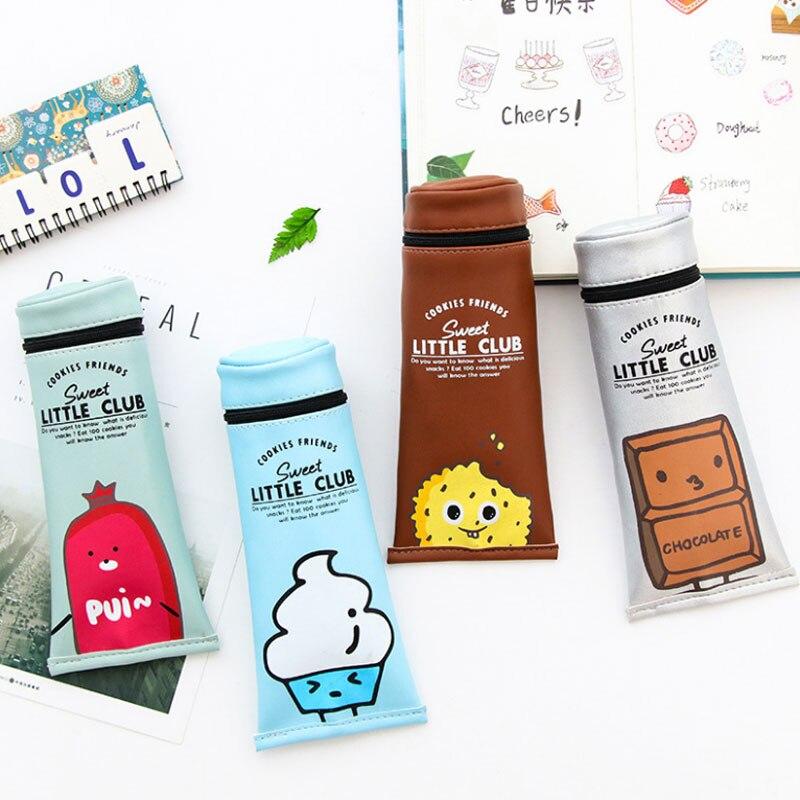 Kawaii Toothpaste Pencil Case Cute Leather Pencil Bag Box Big Pencilcase for Girls Boys School Supplies Korean Stationery Tool