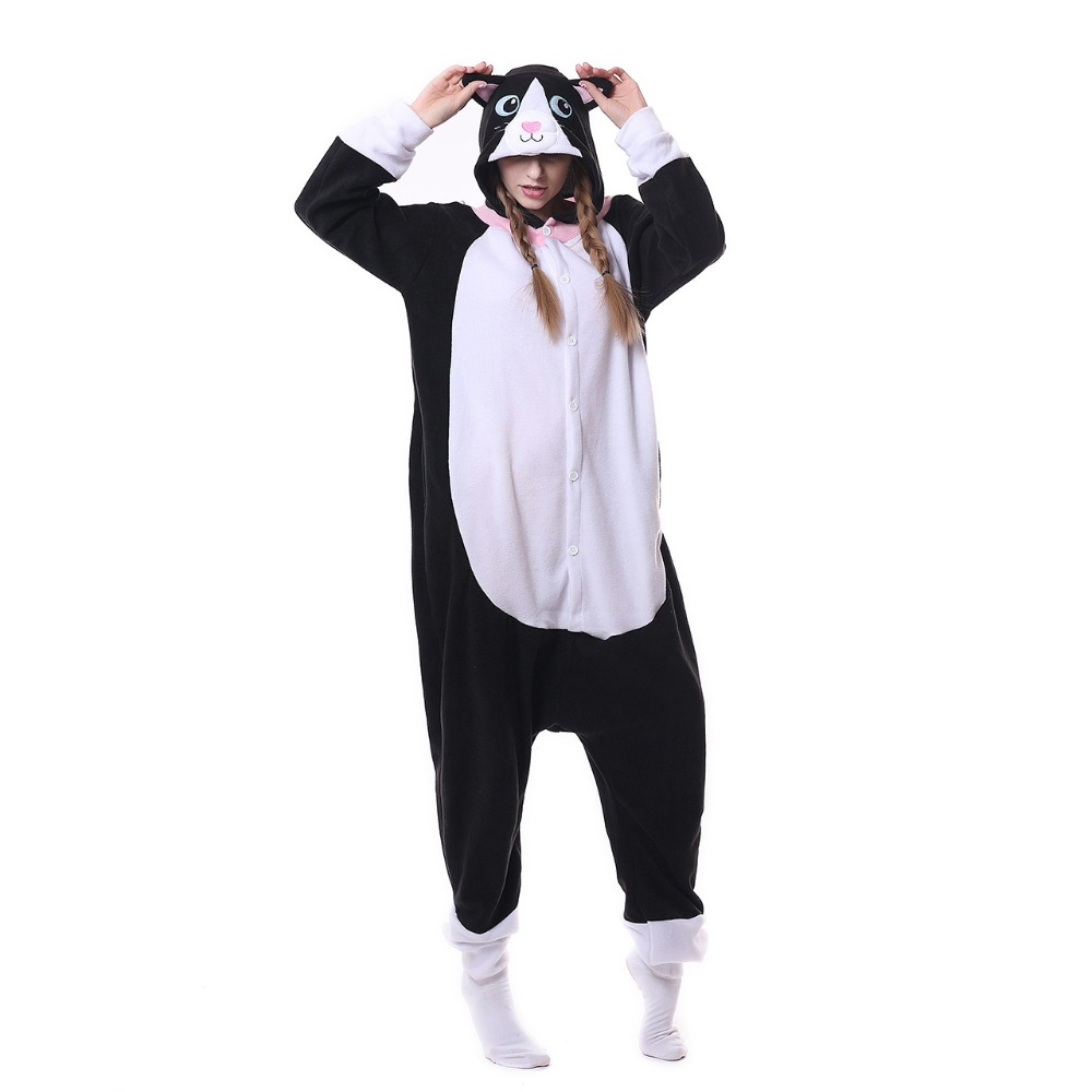 black cat Kigurumi Onesies Cosplay Lilo Stitch Costumes penguin women Hooded animal cartoon pajamas unicorn Kigurumi Jumpsuits