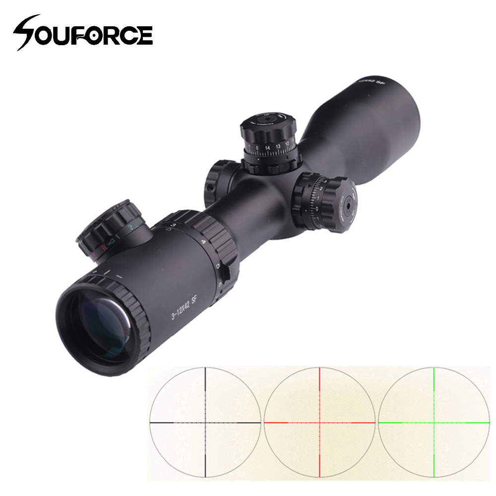 3-12x42 SF Optical Sight Rifle Scope Mil-Dot Reticle Red Green Black illumination with Extinction tube and 20mm Scope Mount 3 10x42 red laser m9b tactical rifle scope red green mil dot reticle with side mounted red laser guaranteed 100%