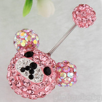 Bear Animal Crystal Belly Button Navel Ring Body Piercing 14G 316L Surgical Steel Nickel Free Fashion