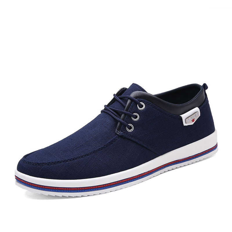 Casual Shoes Men's Canvas Massage Breathable Spring/autumn Loafers Rubber Patchwork Round-Head