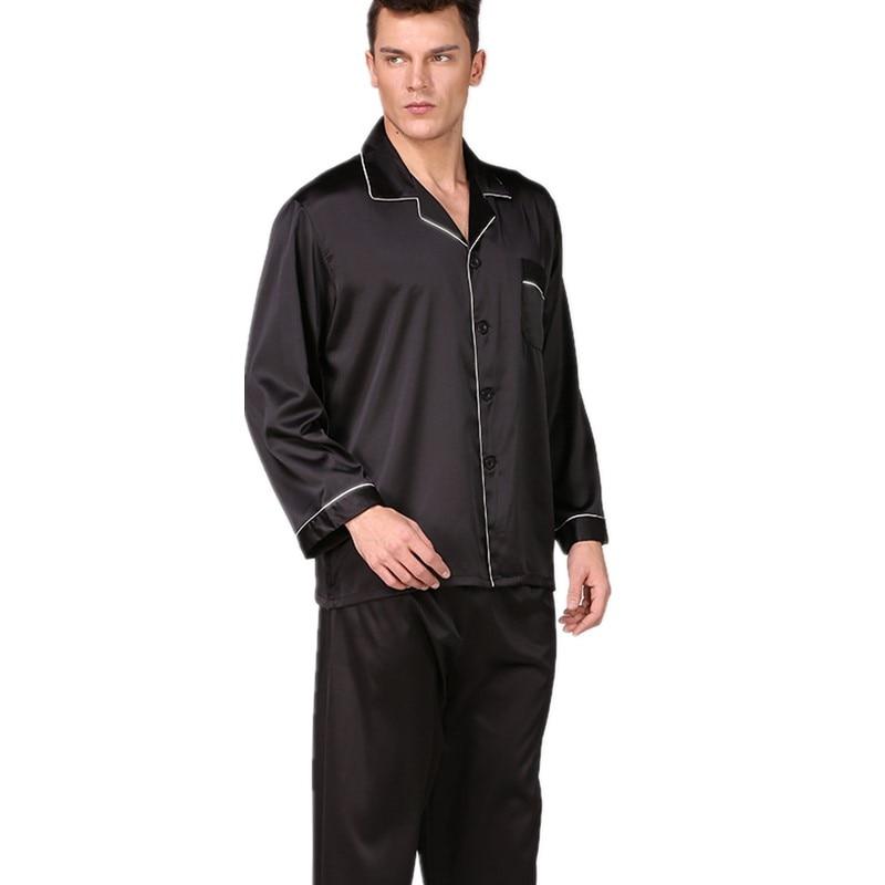Spring New Men Black Faux Silk Nightwear Pyjamas Suit Loose Solid Satin 2PCS Shirt&Pants Casual Male Pajamas Set Soft Home Wear