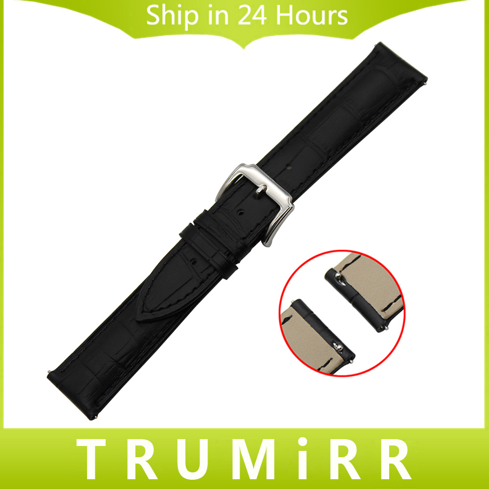 Top layer genuine leather watchband quick release strap