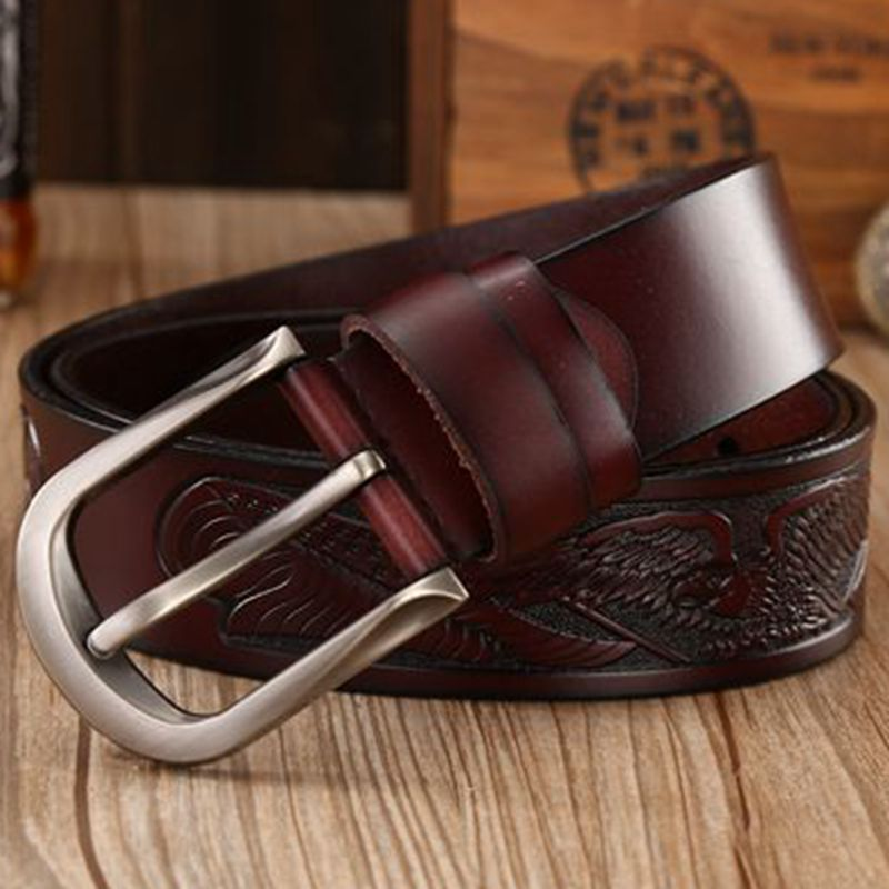 2018 new genuine leather belts for men high quality belt pin buckle punk handcrafted eagle shells cowboy waist strap jeans 130 1