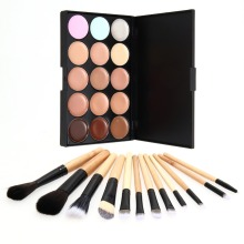 12Pcs Face Makeup Powder Foundation Blush Eye Shadow Brushes 15 Colors Contour Face Cream Concealer Cosmetic