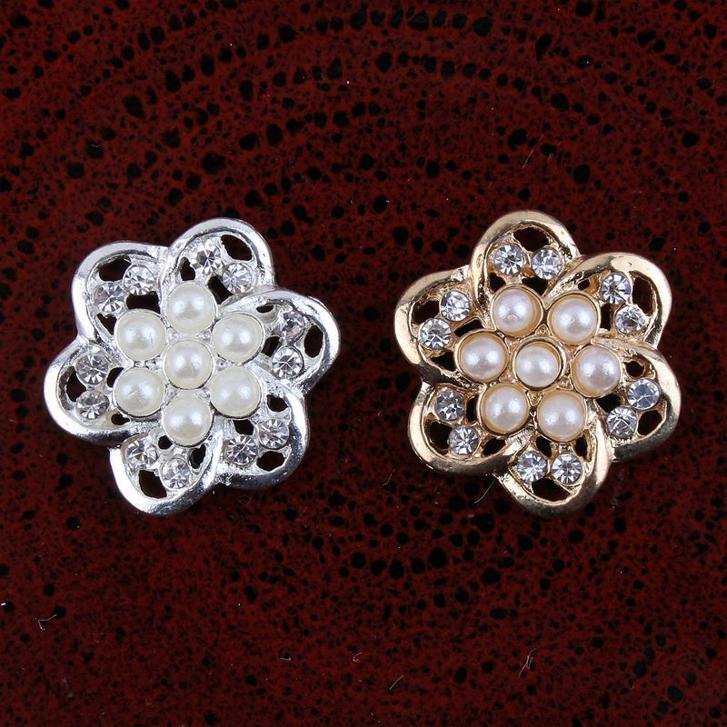 200pcs lot 20MM 2Colors Newborn DIY Clear Rhinestone Button For Craft Accessories Fuax Pearl Button For