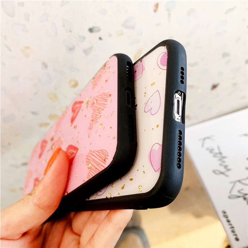 KIPX1088_7_JONSNOW Phone Case for iPhone XS XR XS Max 6S 7 8 Plus Gold Foil Love Heart Style Tempered Glass Back Cover Cases