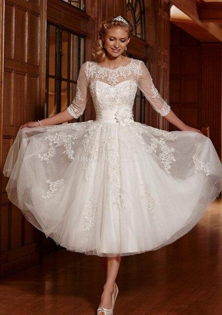 c84a41842839 Casamento 2017 New Vintage Suknia Balowa Bateau Połowa Rękawem Biały