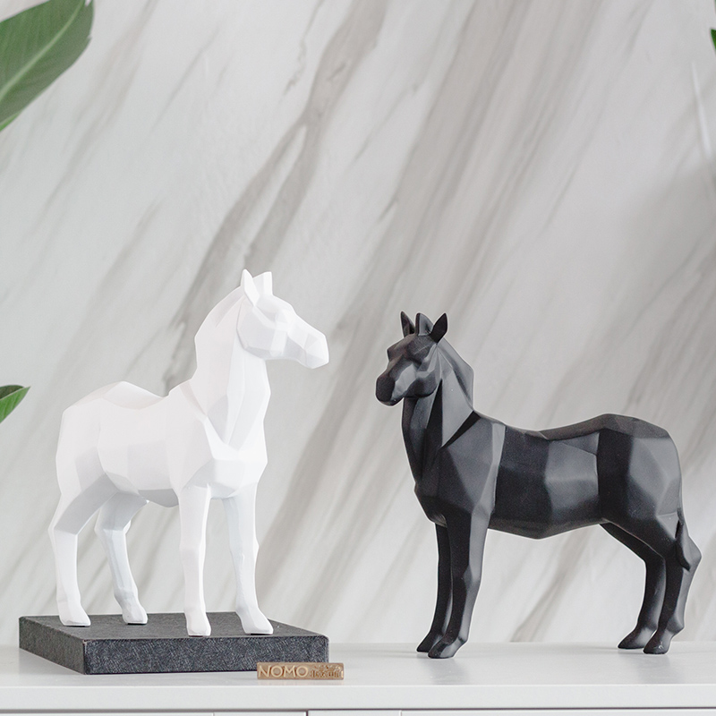 white black resin abstract horse figurines home decor crafts room decoration objects vintage ornament resin animal figurines