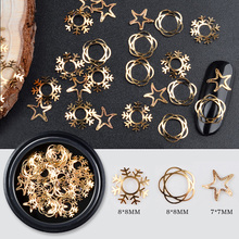 1 Box Christmas Gold Metal Nail Sticker Decorations Snowflake Star Flower Designs DIY Tiny Slice Accessories