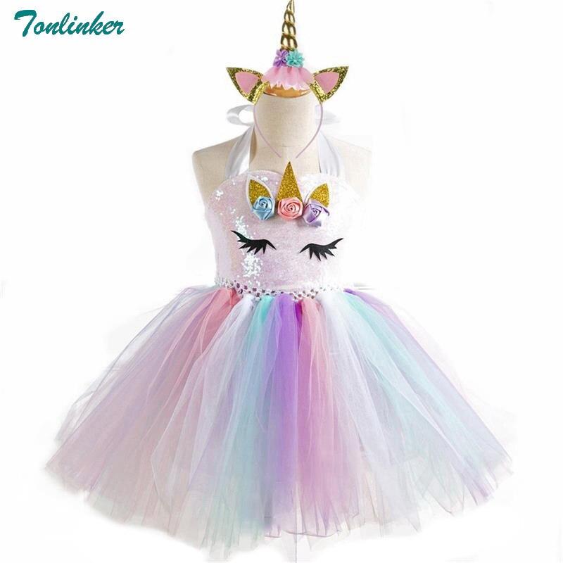 Girls Unicorn Pony Costume With Headband Tutu Dress Flower Sequin Princess Girls Party Dress Children Kids Unicorn Costumes New