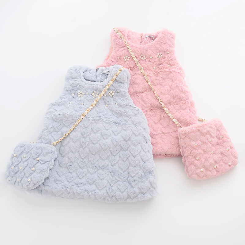 Autumn Winter Child Fluffy Nail Bead Vest Dress Girls Faux Fur with Bag
