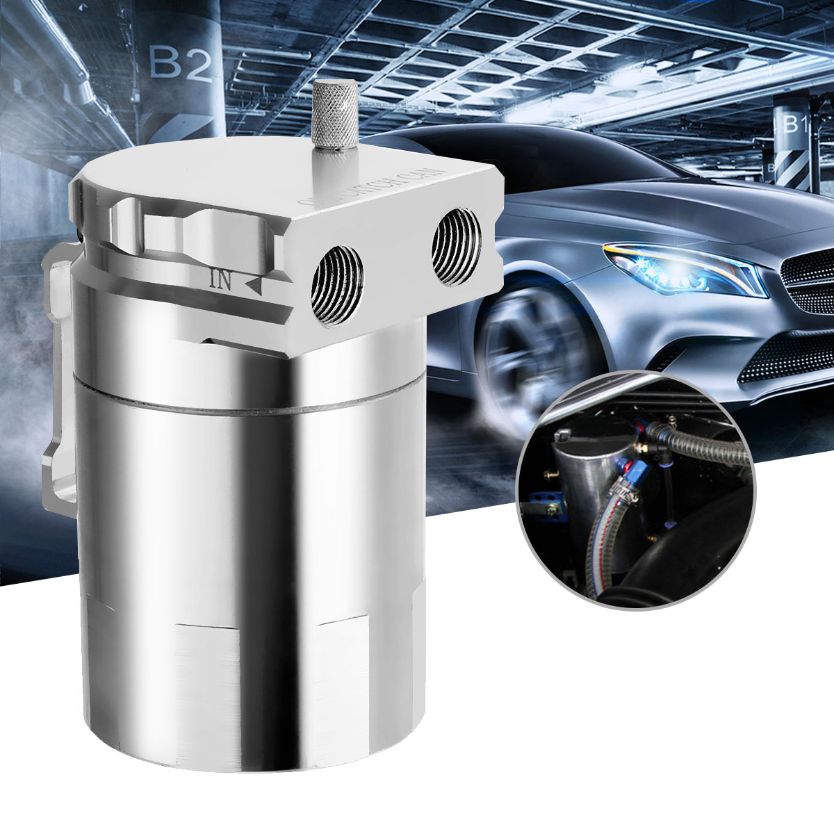 Universal Baffled Aluminium Racing Oil Catch Tank Round Reservoir Can Breather Tank Silver Fuel Turbo Oil Catch Can lzone racing black aluminium fuel surge tank with cap foam inside fuel cell 40l without sensor jr tk21bk