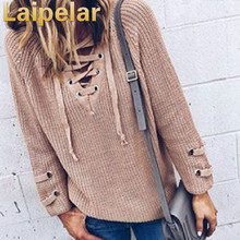 Lace Up Bandage Knitted Sweater Autumn Winter Women 2018 Top Fashion New V Neck Solid Pullover Sexy Casual Loose Sweater Clothes autumn winter women pullover sweater sexy deep v neck black color sweater dresses hollow lace up short knitted dress for ladies