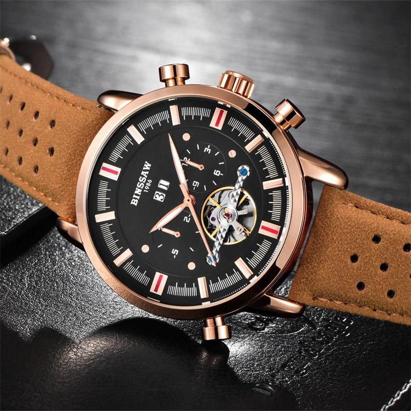 Marca superior de lujo BINSSAW 2018 nuevos hombres Tourbillon reloj - Relojes para hombres - foto 3