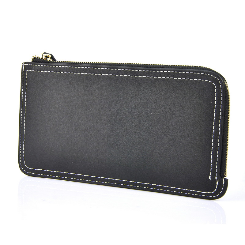 Women Split Cow Nappa Leather Long Clutch Wallet Zip Around Checkbook Cellphone Mobile Purse Credit Card Holder Simple Case