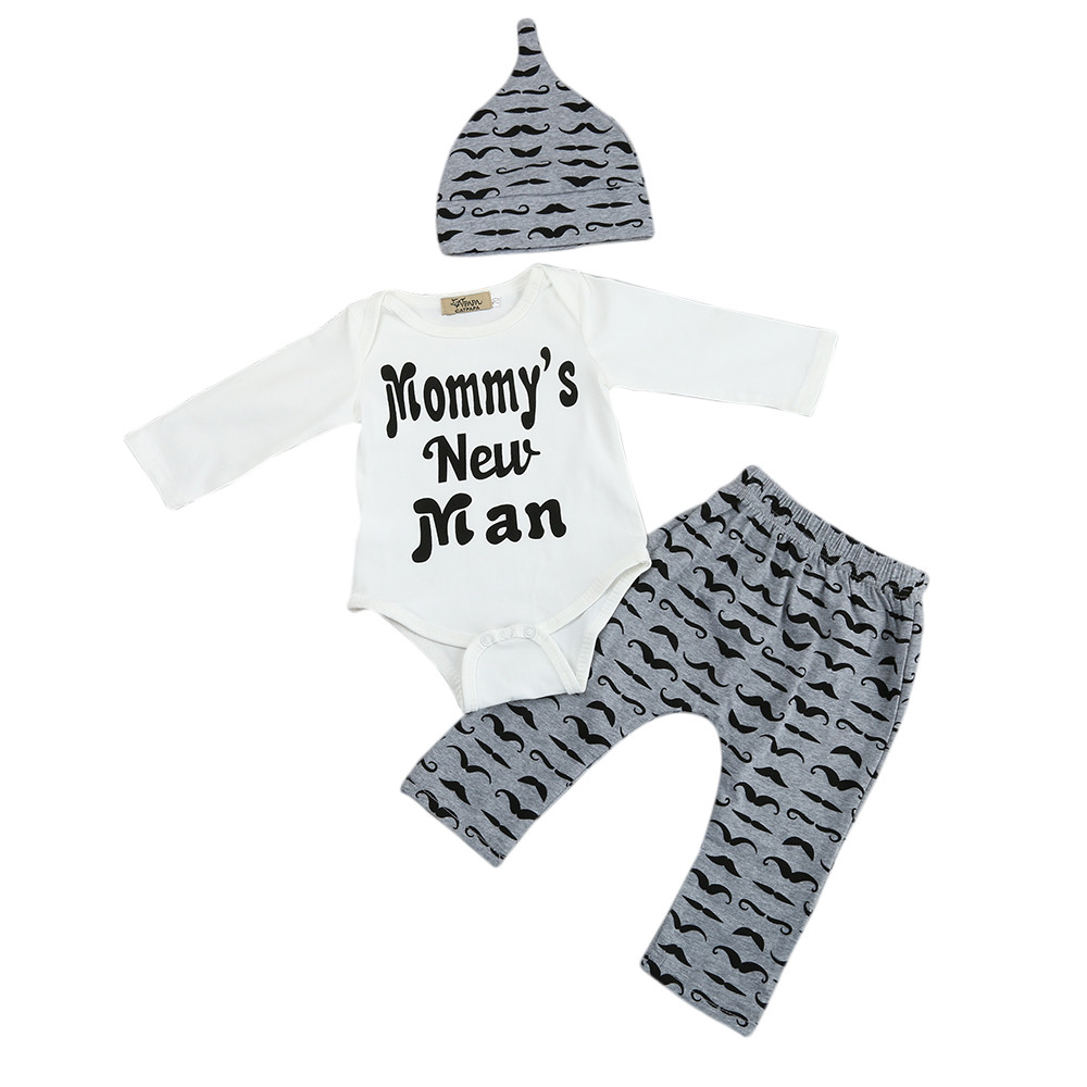 Fashion 2018 Cute 3PCS Set Newborn Baby Boy Romper Tops +Long Pants Hat Outfits Clothes 0-18M high quality  Kids Clothes Boys skullies beanies newborn cute winter kids baby hats knitted pom pom hat wool hemming hat drop shipping high quality s30