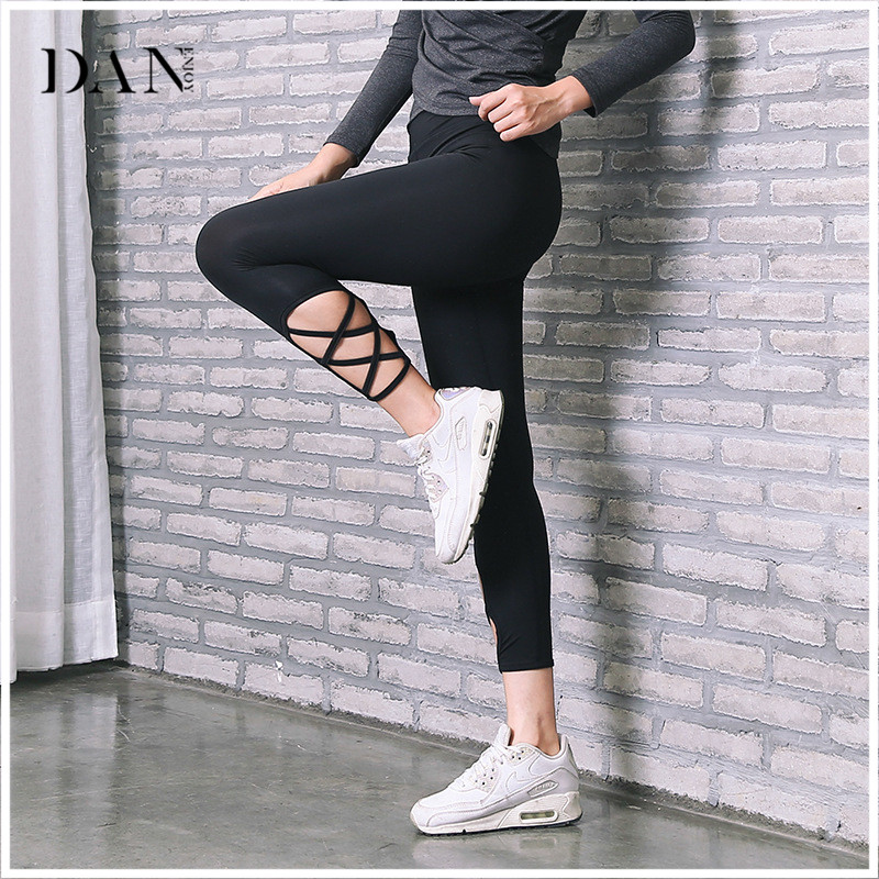 DANENJOY Women Yoga Pants Quick Dry Side Cross Holoow Black Waist Elastic Push Up Sexy Sport Leggings Fitness Pants C-288