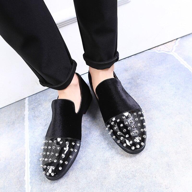 Veludo Homens Plus De Sapatos 2019 Casuais Slip Couro Moda Eu37 Rebite Mocassins Size Preto Spikes Apartamentos Toe Prata on Patente 48 5xqnOw4Cq