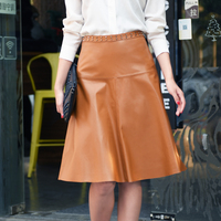 lady genuine leather natural real sheepskin female women skirt knee length with rivets orange black plus big size xxxl 2xl 3xl