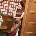 2016-2017 Chinese  Cheongsam Dress Women Silk short Sleeve Dress Retro Mandarin Collar Cheongsam Dress Long Flowers Print Qipao