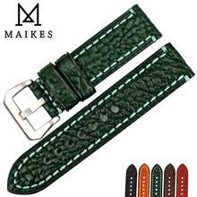 MAIKES-Correa de reloj hecha de cuero italiano, banda de reloj suave de 20, 22, 24 y 26mm, correa de reloj verde de moda para reloj de marca