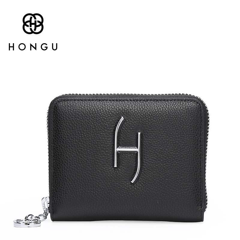 Famous Design Top Quality Cow Genuine Leather Women Wallets Zipper Clutch Coin Purse Bifold Hasp Short Card Dollar Bag Hot HONGU