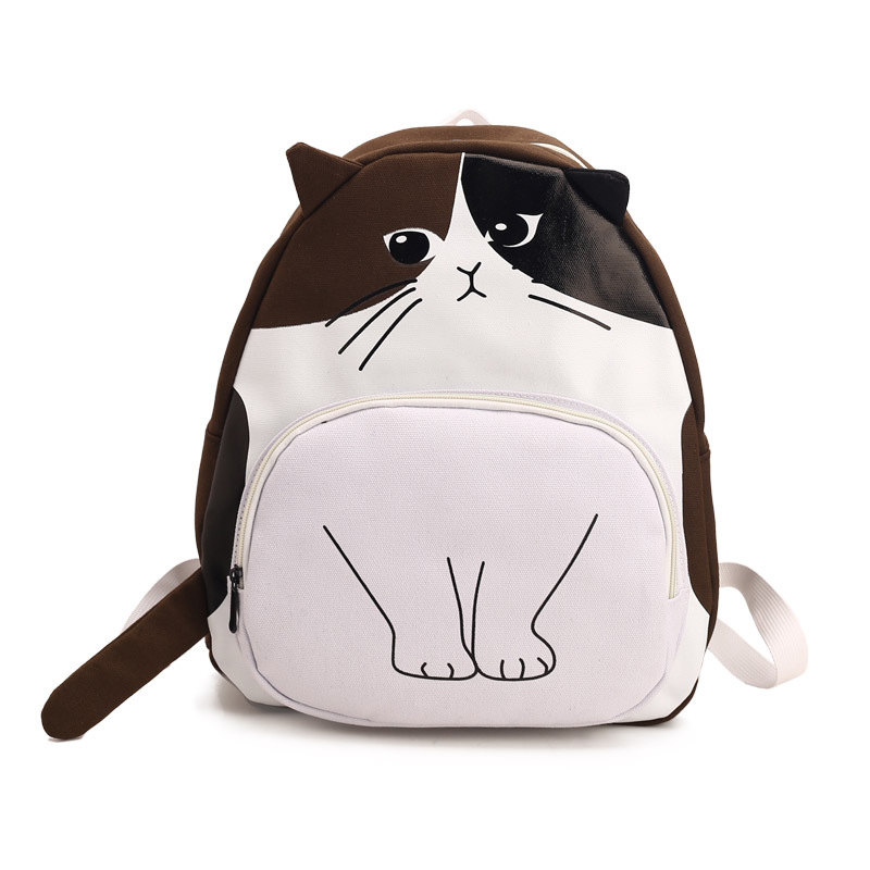 Lovely Cat Printing Backpack Women Canvas Backpack School Bags For Teenagers Ladies Casual Cute Rucksack Book Shoulder Bags 2018 bendy and the ink machine backpack for children school bags cartoon game printing book backpack daily school backpack
