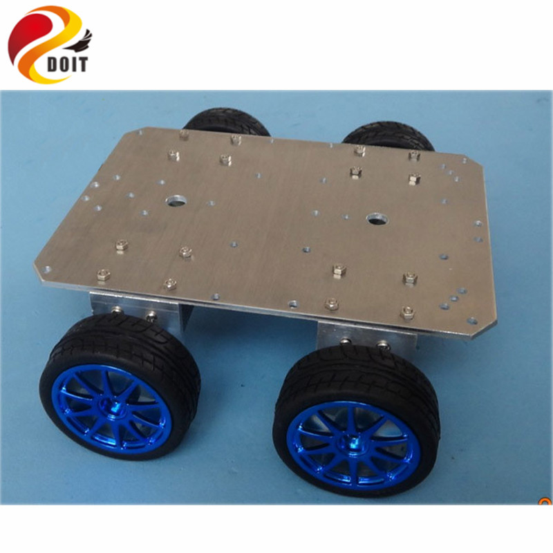 DOIT Smart RC Car Chassis 4WD 37mm Motor 65mm 6061 Aluminum Alloy Chassis Wheel Robot Remote Control Tractor Tracing free shipping 3v 0 2a 12000rpm r130 mini micro dc motor for diy toys hobbies smart car motor fod remote control car