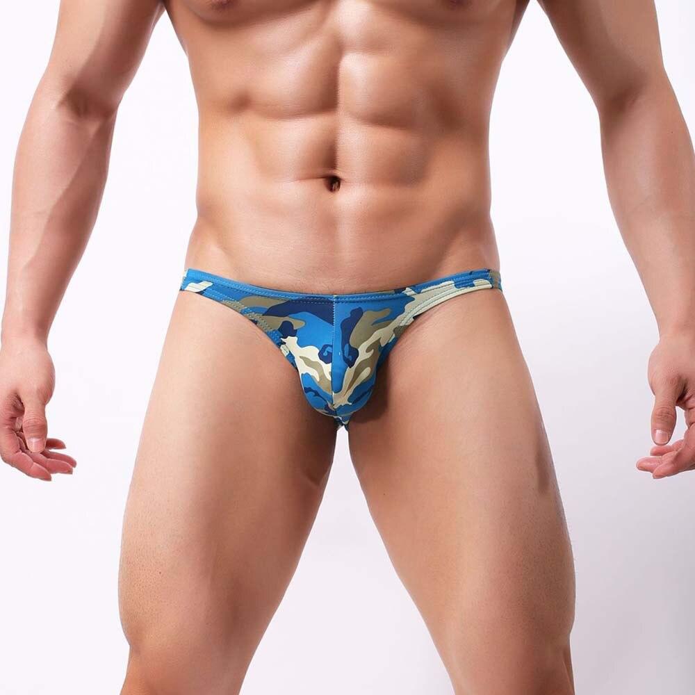 FeiTong Sexy Degli Uomini Della Biancheria Intima Slip 2018 U convessa Grandi Pene Del Sacchetto di Disegno Degli Uomini del Camuffamento spandex Slip per Uomo Bikini Hot vendita