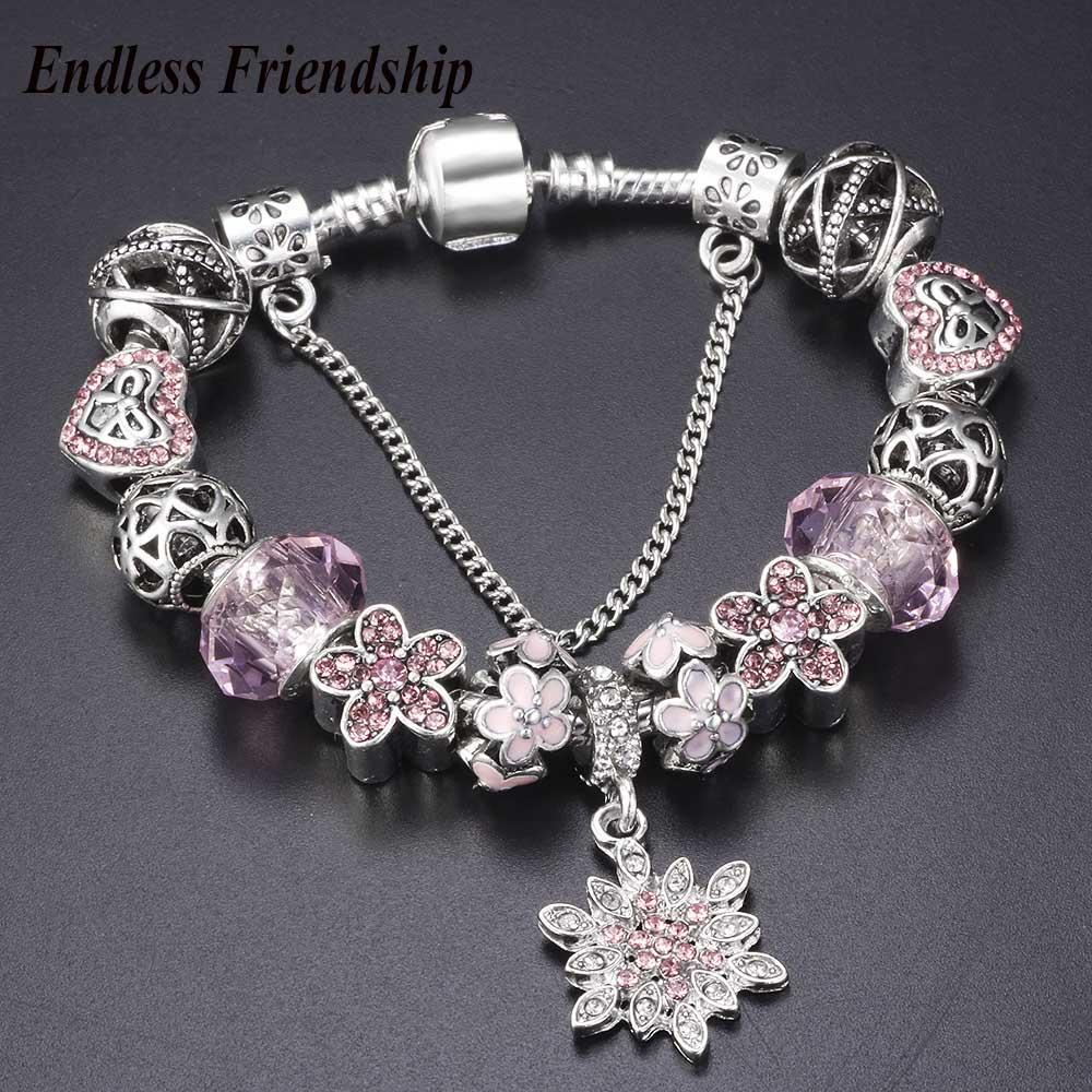 Snowflake Charm Bracelet: Silver Color Crystalized Snowflake Charm Bracelets For