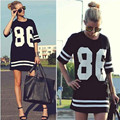 Women's hip hop letter print baseball t-shirt dress summer patchwork Black dress Hiphop Short Sleeve Tees T Shirt top mini dress