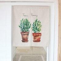 1 stks Moderne Eenvoud Groene Planten Katoen Linnen Decoratieve Deur Gordijnen 80*90 cm 85*120 cm