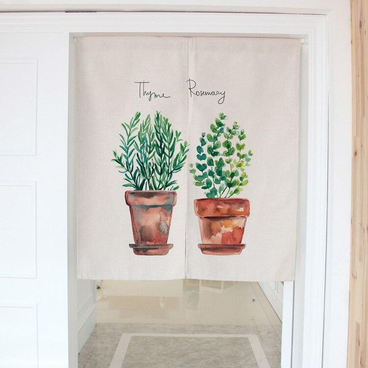 1pcs Modern Simplicity Green Plants Cotton Linen Decorative Door Curtains 80 * 90cm 85 * 120cm