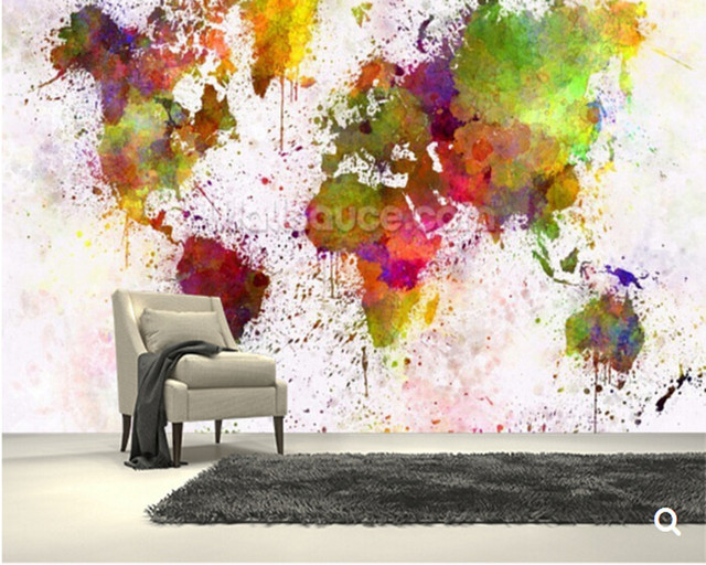 Custom Children WallpaperWorld Map Colour Splash3D Cartoon For Living Room Bedroom Backdrop