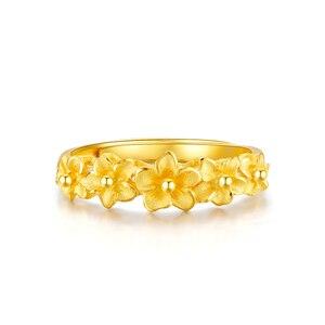 Image 2 - JMZB anillo de oro puro de 24K para mujer, sortijas de oro sólido auténtico AU 999, flores hermosas de lujo, joyería clásica bonito, producto en oferta, novedad de 2020