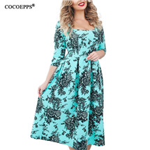 2018 L-6XL Summer Plus Size Women Dress Flower Print Large Size Fashion Dresses Casual Women Clothing Big Sizes Dress Vestidos 33
